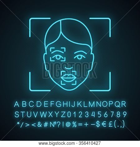 Face Scanning Procedure Neon Light Icon. Facial Recognition Markers, Points. Partial Matching Analys