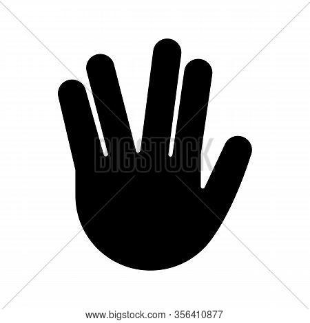 Vulcan Salute Emoji Glyph Icon. Silhouette Symbol. Live Long And Prosper Hand Gesture. Raised Hand W
