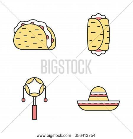 Mexican Color Icons Set. Cinco De Mayo Festival. Taco, Burrito, Mexican Pellet Drum, Sombrero. Isola