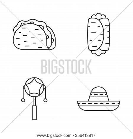 Mexican Linear Icons Set. Latin Party. Taco, Burrito, Mexican Pellet Drum, Sombrero. Thin Line Conto