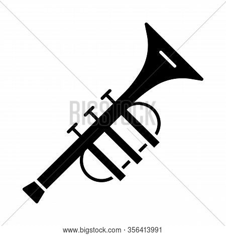 Trumpet Glyph Icon. Brass Musical Instrument. Bugle. Horn. Silhouette Symbol. Negative Space. Vector