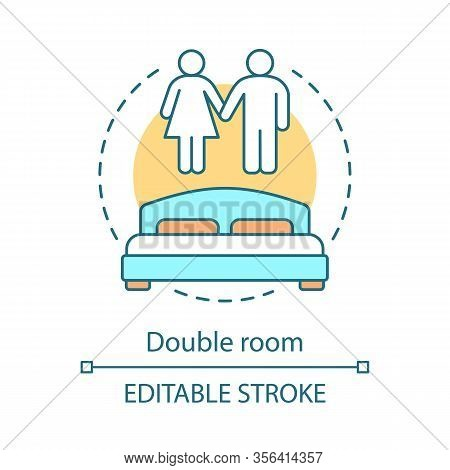 Double Room Concept Icon. Hotel Suite For Couple. Accommodation With Double Bed. Hostel, Dormitory B