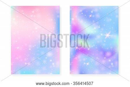 Kawaii Background With Rainbow Princess Gradient. Magic Unicorn Hologram. Holographic Fairy Set. Flu