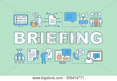 Briefing Concept Icon. Public Speaking. Sales Pitch. Marketing. Business Presentation. Corporate Tra