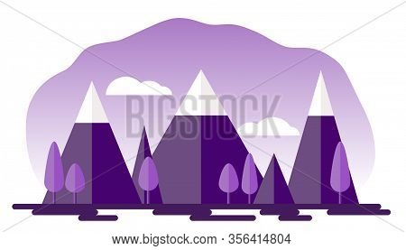 Natural Landscape Of Snowy Mountains, Trees And Sky In The Style Of Paper Applique. Vector Eps 10