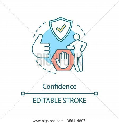 Confidence Concept Icon. Assurance, Certainty. Insured Man. Communication Skill Idea Thin Line Illus