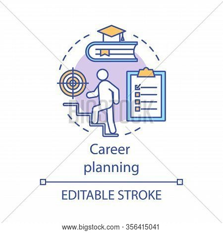 Career Planning Concept Icon. Professional Growth Idea Thin Line Illustration. Goal Achievement. Edu