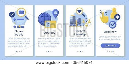 Internship Program Onboarding Mobile App Page Screen Vector Template. Work Searching Software. Stude