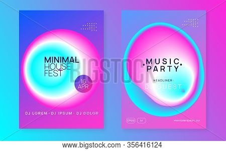 Music Fest Set. Wavy Disco Party Banner Template. Electronic Sound. Night Dance Lifestyle Holiday. F