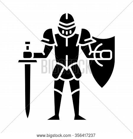 Medieval Knight With Shield And Sword Glyph Icon. Warrior With Full Suit Of Armor. Chivalry. Ancient