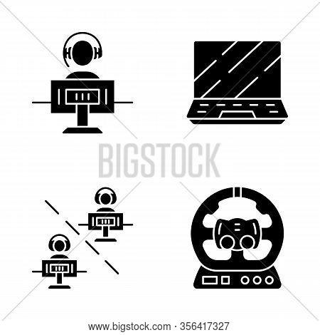 Esports Glyph Icons Set. Gaming Environment. Multiplayer Video Game. Pc Steering Wheel. Gamer Laptop