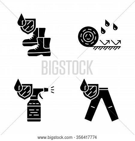 Waterproofing Glyph Icons Set. Water Resistant Materials. Waterproof Shoes, Flooring, Spray, Trouser