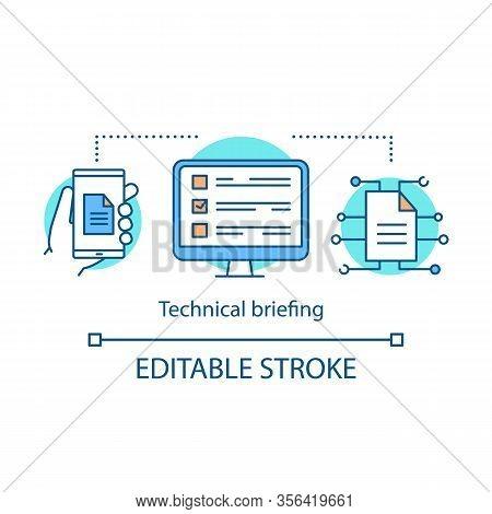Technical Briefing Concept Icon. Online Test, Exam. Digital Data Storage. File Management Idea Thin