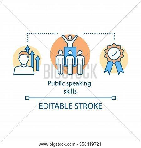 Public Speaking Skills Concept Icon. Protest Leader, Politician. Orator, Speaker, Presenter. Leaders