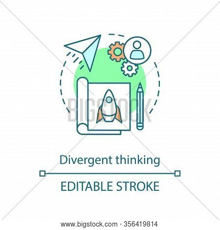 Divergent Thinking Concept Icon. Spontaneous, Creative Thinking. Efficiency And Productivity. Projec