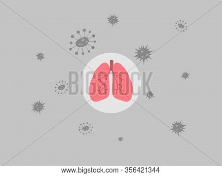 Virus Is All Around Lung And Trachea, Health Care Concept.