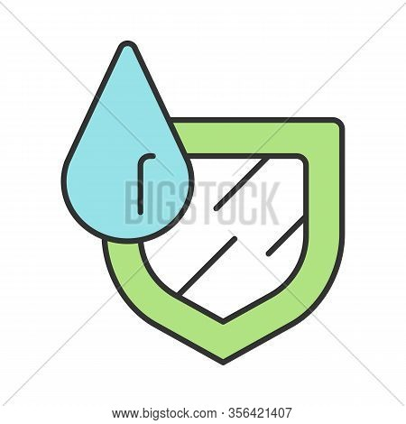 Waterproofing Sign Color Icon. Water Resistance. Hydrophobic, Anti Wetting Technology. Water Protect