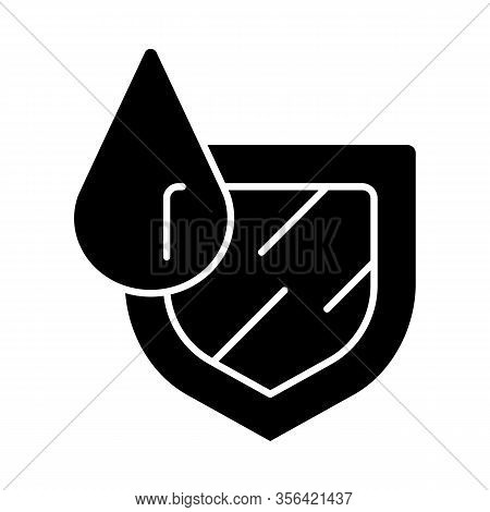 Waterproofing Glyph Icon. Water Resistance. Hydrophobic, Anti Wetting Technology. Water Protection D