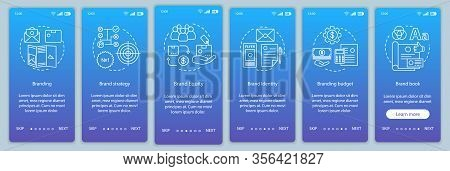 Branding Onboarding Mobile App Page Screen Vector Template. Brand Strategy, Equity. Brand Book Devel
