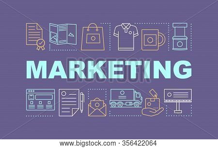 Marketing Word Concepts Banner. Presentation, Website. Communications, Product, Service For Brand Eq