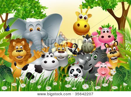vector illustration of animal cartoon in jungle poster