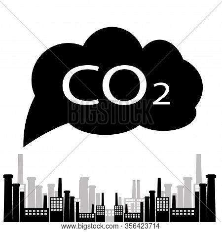 Large Plant Co2 Emissions Vector Illustration, Flat Cartoon City Scene And Carbon Dioxide Emissions