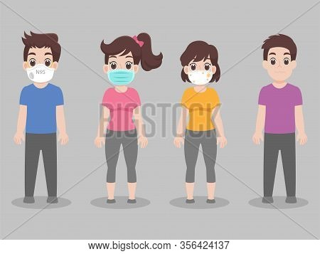 Set Of People Wearing Face Mask With Different Types Of Face Mask For Prevent Virus Wuhan Covid-19.c
