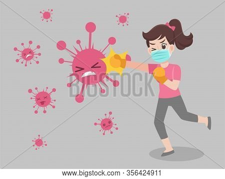 Woman Fight Punch Virus Wearing A Surgical Protective Medical Mask For Prevent Virus Wuhan Covid-19.