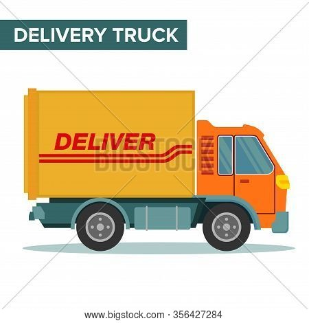 Vector Illustration Of A Freight Truck With Container Box. Suitable For Freight Forwarding, Logistic