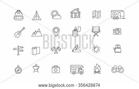 Icon Collection Of Outdoor Activities And Adventures In The Wild Such As Map, Compasses, Tents And O