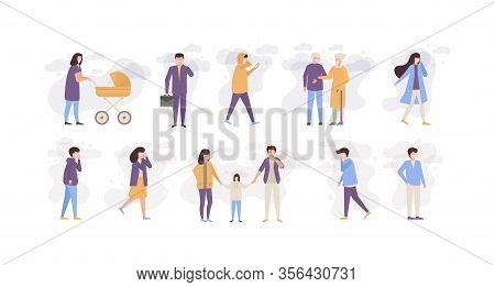 People In Polluted City Air Wearing In Masks Vector Illustration Set. Different People Men, Women, C