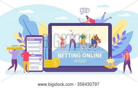 Betting Online Game, Bets On Sport Banner Tiny People Cartoon Vector Illustration. Online Live Sport