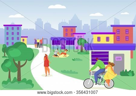 Casual Young People In Summer Walking, Riding Bicycle, Having Picnic In Park Weekend Cartoon Vector