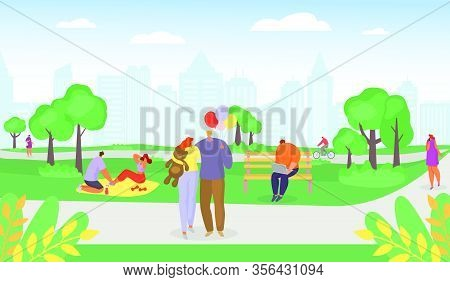 Casual Young People In Summer Park, Romantic Couples Walking, Man Riding Bicycle, Family Having Picn