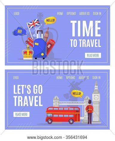 Learning English Language And Travel To England Webpage Tourism Set Vector Illustration. English Fla