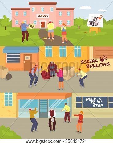 School Children Bullying Vector Illustration Set. Cartoon Angry Teenagers Mocking Sad Girl, Homeless