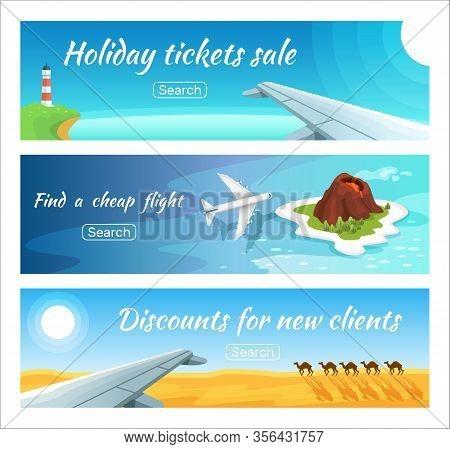 Travel Advertisement Ticket Sale Vector Illustration Set. Horizontal Web Advertising Tourism Banner