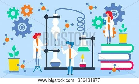 Scientists Analyze Data Vector Illustration. Group Of Scientists People Works In Team With Professor