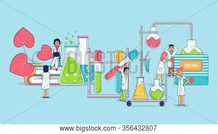 Lab Research Lineart And Science Chemistry Technology, Omen And Men Scientists Working In Lab With C