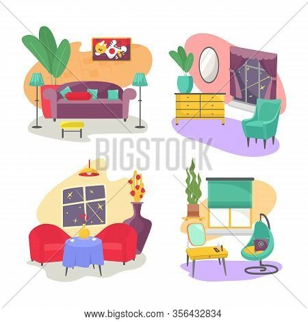 Living Room Furniture Interior Set With Four Isolated Pictures Of Modern Home Vector Illustration. L