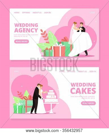 Newlyweds Couple Vector Illustrations Set For Wedding Agency. Marriage Day Bride And Groom In Banque