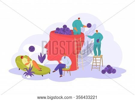 Psychologist Help For People, Mental And Emotional Problems In Psychotherapy Vector Illustration Iso