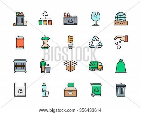 Set Of Garbage Flat Color Line Icons. Waste Factory, Beer Can, Dumpster And More