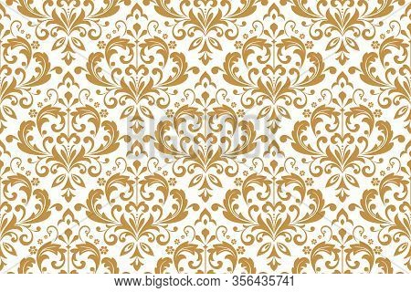 Wallpaper In The Style Of Baroque. Seamless Background. White And Gold Floral Ornament. Graphic Patt