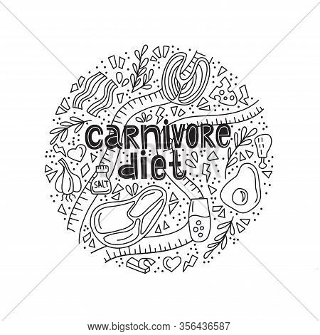 Carnivore Diet Doodle Color. Weight Loss Meal, Healthy Eating. Meat, Cheese, Eggs, Fish, Steak, Rose