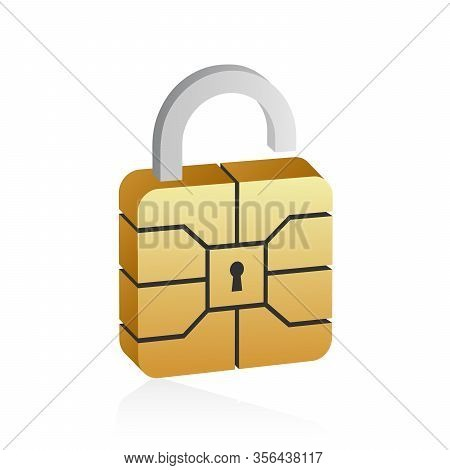 Golden Emv Microchip In 3d Style. Secure Contactless Banking Payment.