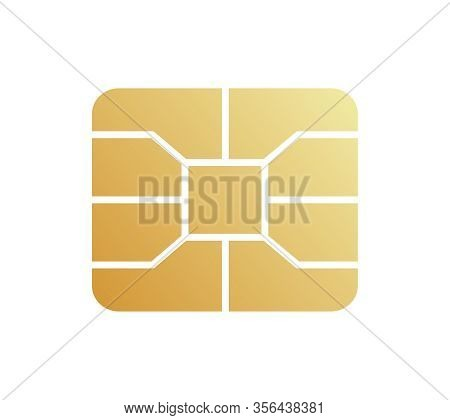 Golden Emv Chip Icon. Secure Online Banking Microchip.