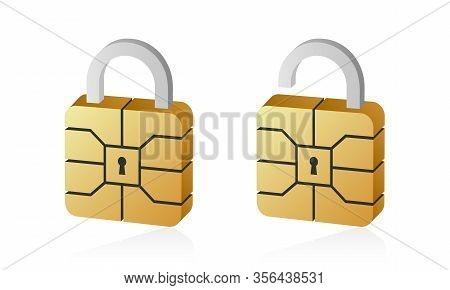 Golden Emv Chip Padlock For Credit Card. Secure Online Banking Payment.