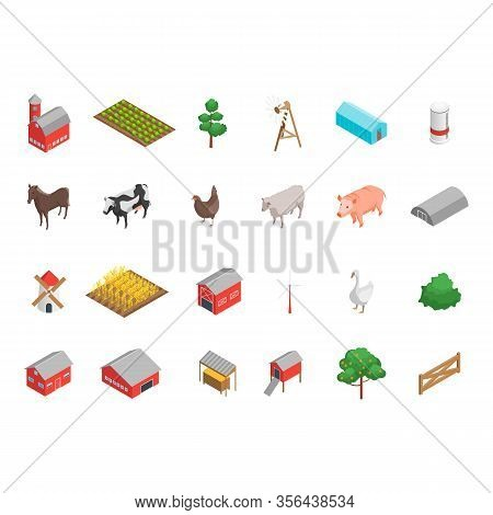 Farm Rural Concept Icon Set 3d Isometric View. Vector Illustration Of Field, Cow, Building