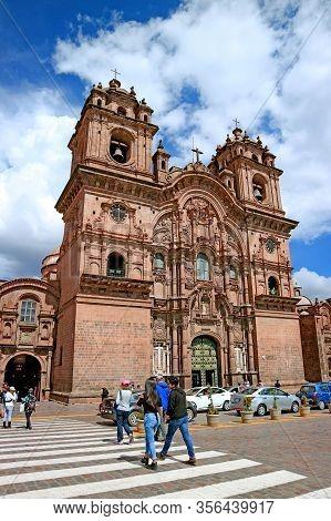 The Church Of  Iglesia De La Compania De Jesus On Plaza De Armas Square In Cusco, Peru, South Americ